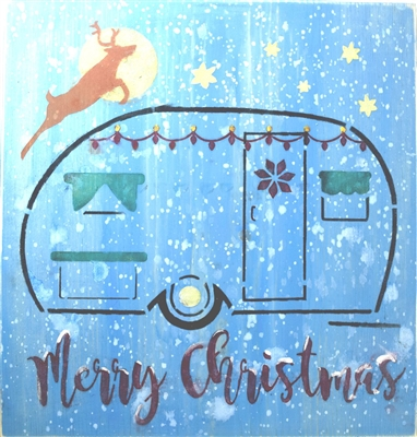 "Merry Christmas with Vintage / Retro Camper 12 x 12"" Stencil"