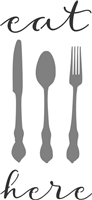 Eat Here with Knife, Fork & Spoon Stencil -Two Sizes