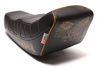 long CHOPPER seat - black - LIGHT GOLD piping