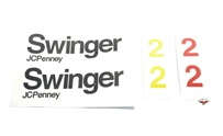 "JCPenny SWINGER 2 tank decal set - black w/red & yellow ""2"""