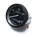 tomos OEM 40mph speedometer - black background / white housing - WITH bracket