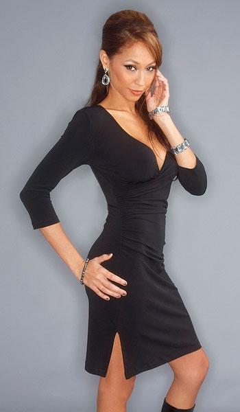 34 Sleeve Mock Wrap Dress with slit Hostess uniform  : DR 1070 2 from www.dresscodenyc.com size 350 x 600 jpeg 74kB