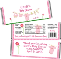Pink Clothesline Baby Shower Candy Wrappers