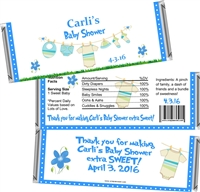 Blue Clothesline Baby Shower Candy Wrappers