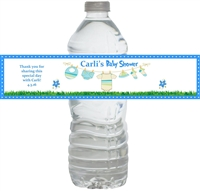 Blue Clothesline Baby Shower Waterproof Water Bottle Labels