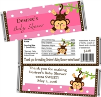 Pink Monkey Baby Shower Candy Wrappers