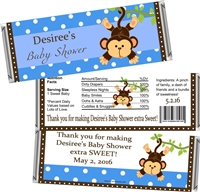 Blue Monkey Baby Shower Candy Wrappers
