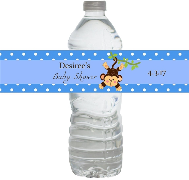 Blue Monkey Waterproof Water Bottle Labels