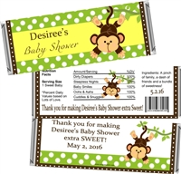Green Monkey Baby Shower Candy Wrappers