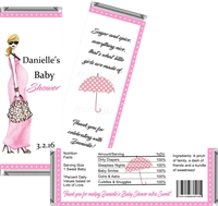 Pink Mod Mom Baby Shower Candy Wrappers