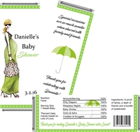 Green Mod Mom Baby Shower Candy Wrappers