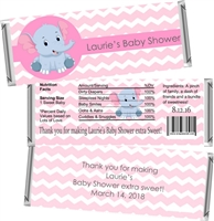 Pink Elephant Baby Shower Candy Wrappers