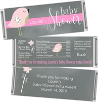 Pink Birdie Baby Shower Candy Wrappers
