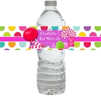 Candy Land Bat Mitzvah Waterproof Water Bottle Labels