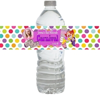 Carnival Bat Mitzvah Waterproof Water Bottle Labels