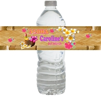 Tropical Luau Waterproof Water Bottle Labels