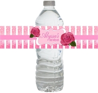 Pink Roses Waterproof Water Bottle Labels
