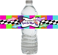 Mad Hatter Bat MItzvah Waterproof Water Bottle Labels