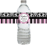 Black & Pink Damask Waterproof Water Bottle Labels