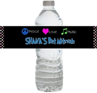 Peace, Love Waterproof Water Bottle Labels