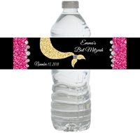 Mermaid Under the Sea Bat Mitzvah Water Bottle Labels