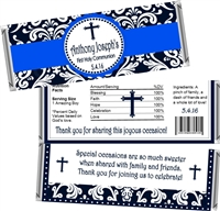 Blue & Black Damask First Communion Candy Wrappers