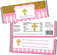 Pink & Gold First Communion Candy Wrappers