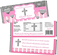 Pink & Silver First Communion Candy Wrappers