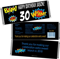 Superhero Men's Birthday Candy Wrappers