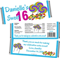Candy Land Sweet 16 Birthday Candy Wrappers