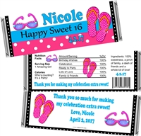 Beach Sweet 16 Birthday Candy Wrappers