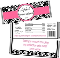 Damask Sweet 16 Birthday Candy Wrappers