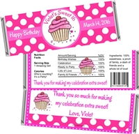 Pink Cupcake Sweet 16 Birthday Candy Wrappers