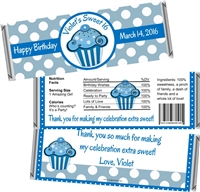 Blue Cupcake Sweet 16 Birthday Candy Wrappers