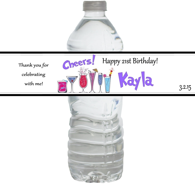 Women's Birthday Waterproof Water Bottle Labels