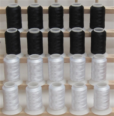 10 White and 10 Black Polyster Machine Embroidery Thread