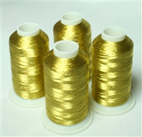 4 Cones of Antique Gold Metallic Machine Embroidery Thread