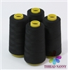 4 Large Cones of Polyester thread in Black with 3000 yards each