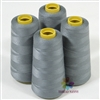 4 Large Cones of Polyester thread in Grey with 3000 yards each