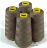 4 Large Cones of Polyester thread in Khaki with 3000 yards each
