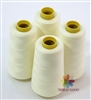 4 Large Cones of Polyester thread in Light Cream with 3000 yards each