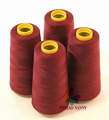 4 Large Cones of Polyester thread in Maroon with 3000 yards each