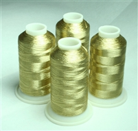 4 Cones of White Gold Metallic Machine Embroidery Thread