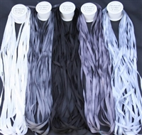 ThreadNanny 5 Spools of Grey Tone 100% Pure Silk Ribbons