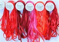 ThreadNanny 5 Spools of Red Tone 100% Pure Silk Ribbons