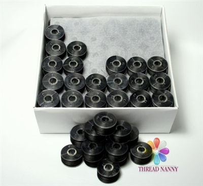 Black Pre-Wound Bobbins for BROTHER