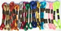 24 Metallic Skeins of Cross Stitch Floss Thread