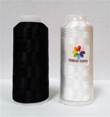 2 Extra Large Black & White Cones of Bobbin Thread 550 Yards