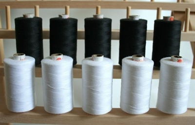 ThreadNanny 1100 Yard Spools of Black and White 3-PLY Polyester Thread