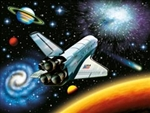 Puzzle of the space shuttle suitable and solar system for ages 6 and up